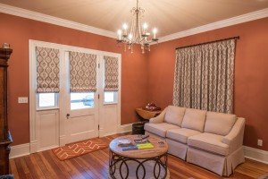 Matching Panels and Roman Shades in Entry